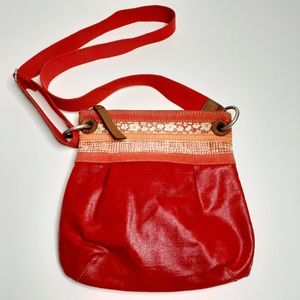 Fossil Boho Inspired Red Coated Crossbody